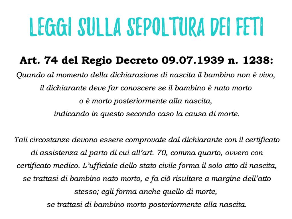 leggi sepoltura feti italia