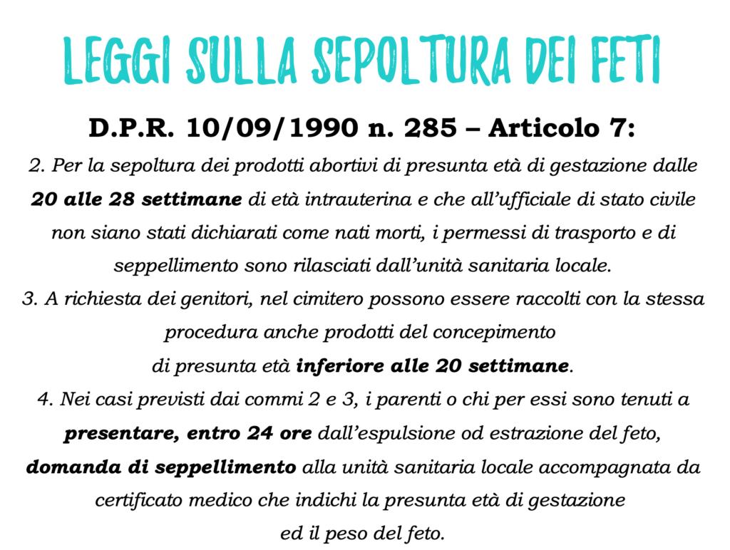 leggi sepoltura dei feti in italia dpr